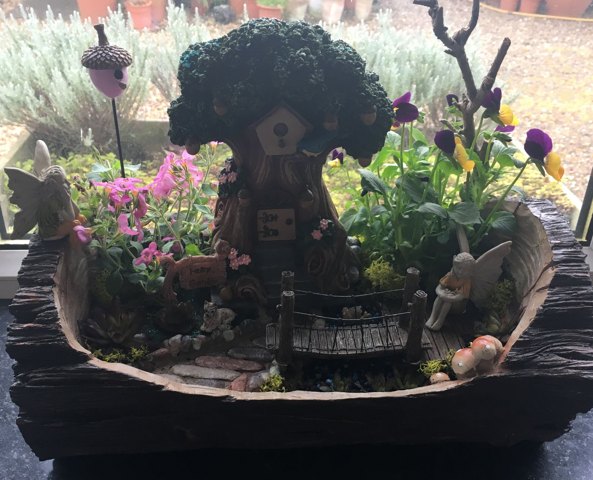 Large Fairy Garden Log Planter   35CM.